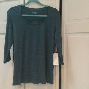 Eileen Fisher NWT Linen Jersey top teal green M